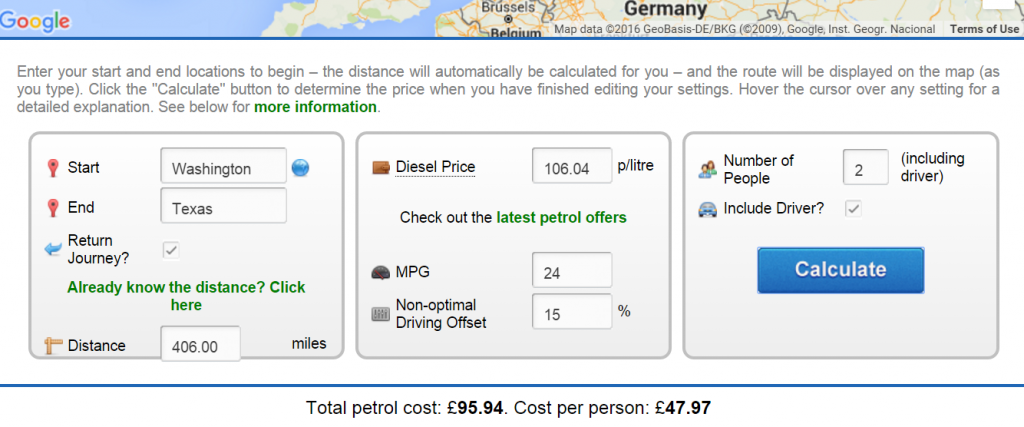 gas price trip gas price calculator