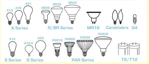 standard light bulb shapes