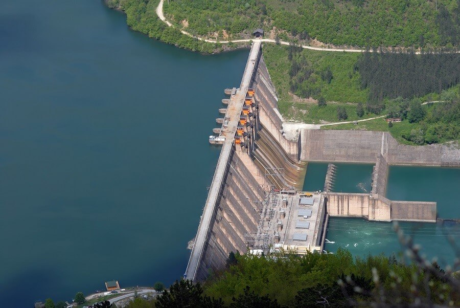 view from above of a hydroelectric dam