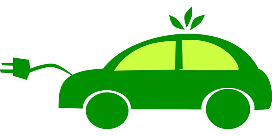 illustration of a green car symbolizing electric cars