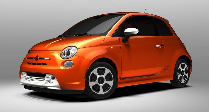 orange Fiat 500e electric car