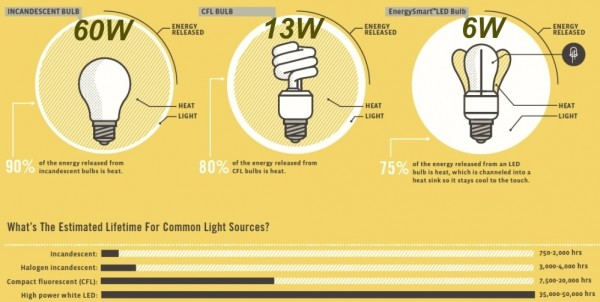 led cfl incandescent energy efficiency lifespan