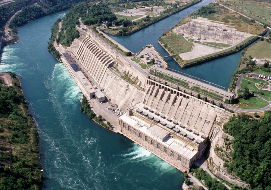 above view of a hydroelectric dam