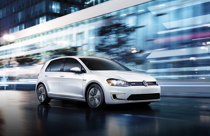 white Volkswagen e-Golf