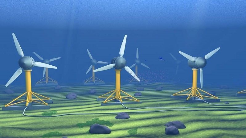 wind turbines generating tidal energy