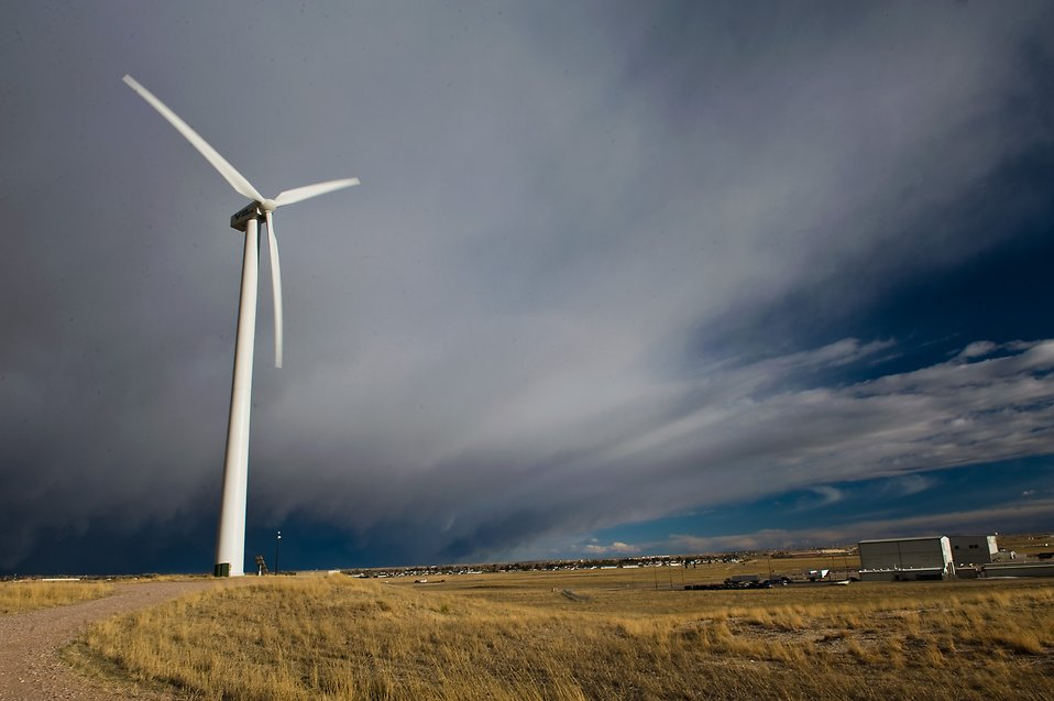 wind turbine on an open field