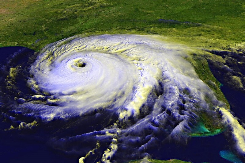 hurricane photographed from space