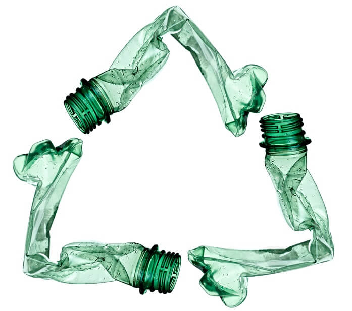 recycle symbol made of water bottles